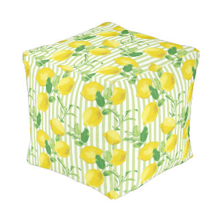 The Fresh Striped Lemon Vector Seamless Pattern Pouf