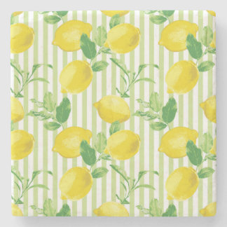 The Fresh Striped Lemon Vector Seamless Pattern Stone Coaster