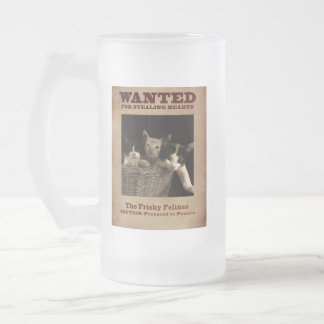 The Frisky Felines Frosted Glass Beer Mug