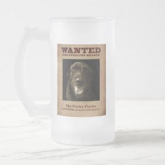 The Frisky Flattie Frosted Glass Beer Mug