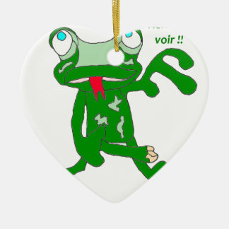 The FROG CIRCULATE A NOTHING TO SEE 1.PNG THERE Ceramic Heart Ornament