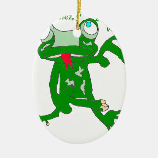 The FROG CIRCULATE A NOTHING TO SEE 1.PNG THERE Ceramic Oval Ornament