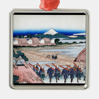 The Fuji seen from gay quarter in Senju Hokusai Silver-Colored Square Ornament