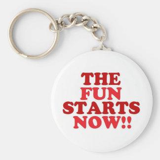 the fun starts now basic round button keychain