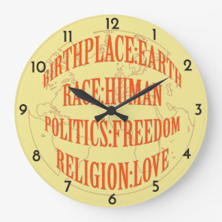 The Fundamentals of Life - Red or Blue Graphic Large Clock