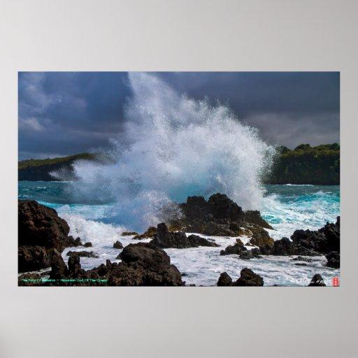 The Fury Of Kanaloa ~ Hawaiian God Of The Ocean Poster
