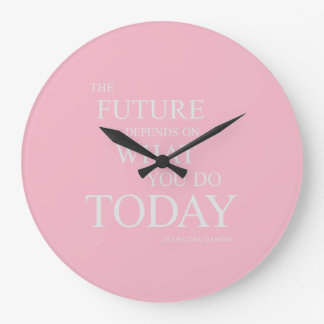 The Future Inspiring Motivational Quote Pink Clock