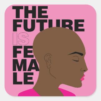 The future is female square sticker