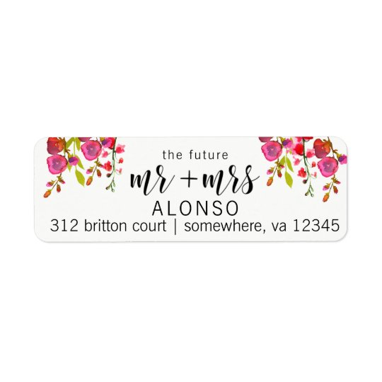 The Future Mr and Mrs Return Address Labels Floral