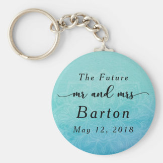 """The Future Mr. & Mrs"" Teal & Blue Mandala Basic Round Button Keychain"