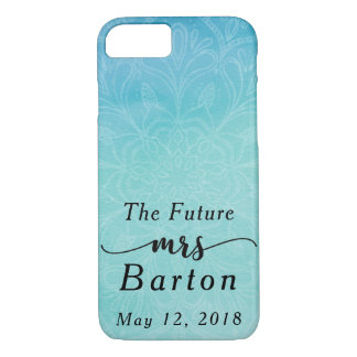 """The Future Mrs"" Typography Teal & Blue Watercolor iPhone 8/7 Case"