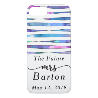 """The Future Mrs"" Typography Watercolor Streamers iPhone 7 Case"