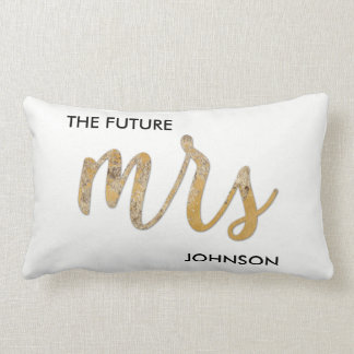 The Future/New Name Black White Faux Gold Foil Lumbar Pillow