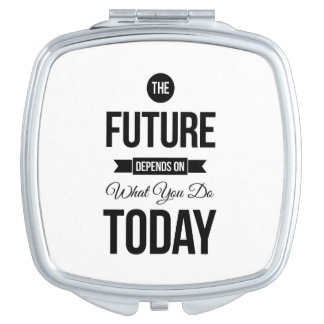 The Future Typography Quote White Compact Mirrors