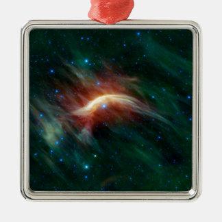 The Galaxy Silver-Colored Square Ornament
