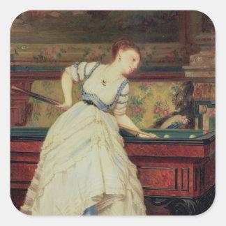 The Game of Billiards, 19th century Square Sticker