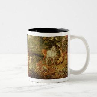 The Garden of Eden; in the background The Temptati Two-Tone Coffee Mug