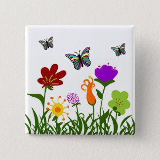 The garden with butterflies 2 inch square button