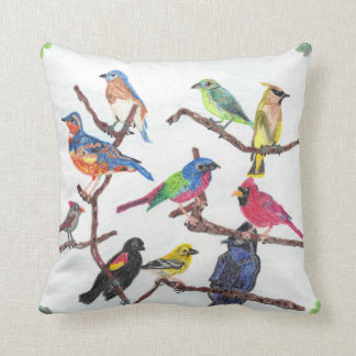 The Gathering Colorful Songbirds Pillow