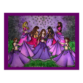 The Gathering of Belly Dancers in Purple Postcard