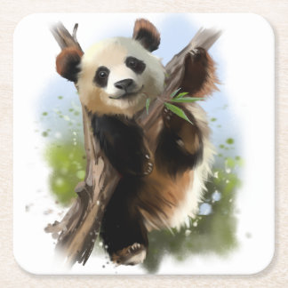 The giant Panda Square Paper Coaster