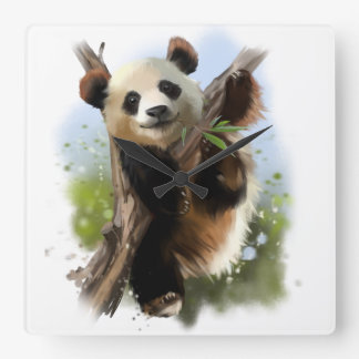 The giant Panda Square Wall Clock