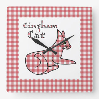 The Gingham Country Cat Wall Clock