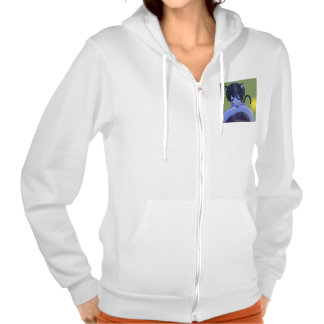 The girl of the cat ear which peers the coffee hooded pullover