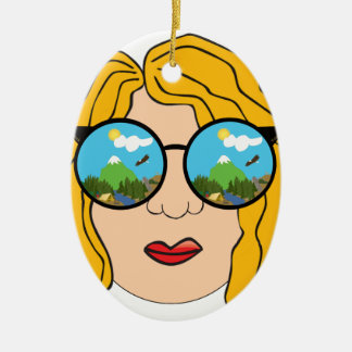 The girl that loves the outdoors ceramic ornament