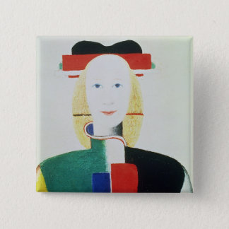 The Girl with the Hat 2 Inch Square Button
