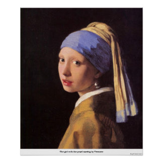 The girl with the pearl earring by Vermeer Poster