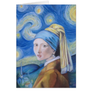 The girl with the pearl earring on a starry night. note card
