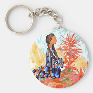 The giving tree a Native American Girl Praying Basic Round Button Keychain