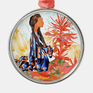 The giving tree a Native American Girl Praying Metal Ornament