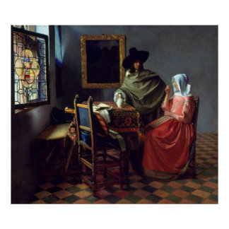 The Glass of Wine by Johannes Vermeer, Matte Poster