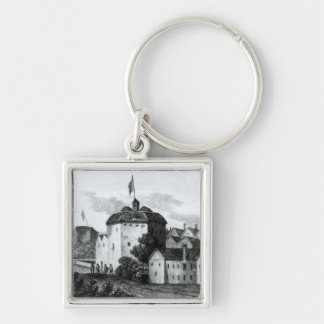 The Globe Theatre on the Bankside Silver-Colored Square Keychain