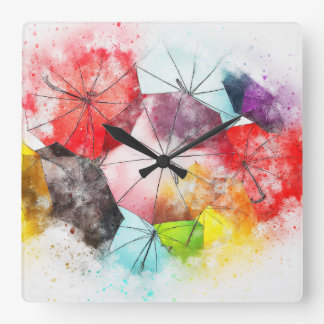 The Glorious Brolly Brigade Square Wall Clock