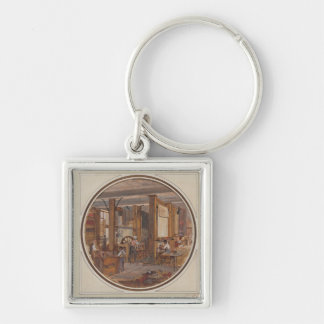 The Gobelins Workshop, 1840 Silver-Colored Square Keychain