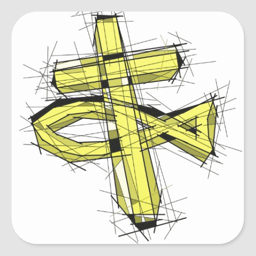 The Gold Fish and The Cross. Square Sticker