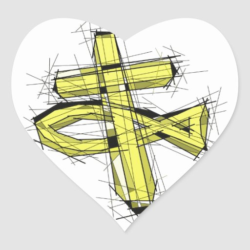 The Gold Fish and The Cross. Heart Sticker