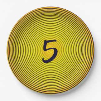 The Gold Spiral of The Sun With Letters Or Numbers Paper Plate