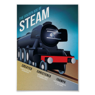 The golden age of steam vintage train art poster