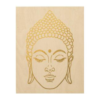 The Golden Buddha of Mindfulness Wooden Wall Art