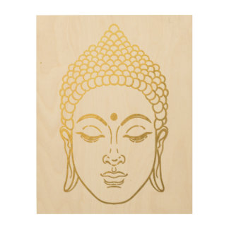 The Golden Buddha of Mindfulness Wooden Wall Art Wood Print