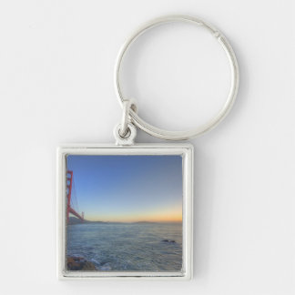 The Golden Gate Bridge at sunrise from Fort Silver-Colored Square Keychain