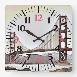 The Golden Gate Bridge - San Francisco, CA (pink) Square Wall Clock