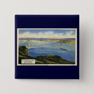 The Golden Gate Bridge Vintage Postcard 2 Inch Square Button