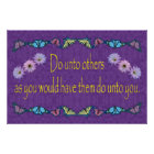 The Golden Rule with Flowers and Butterflies Poster