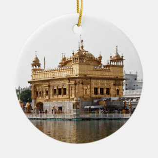The Golden Temple in Amritsar Round Ceramic Ornament