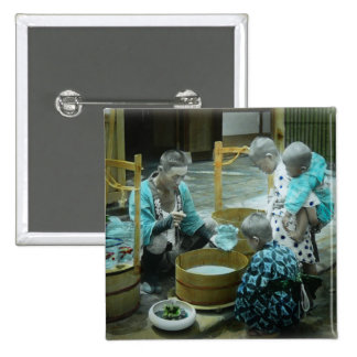 The Goldfish Merchant of Old Japan Vintage 2 Inch Square Button